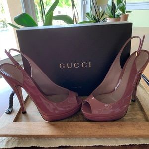 Gucci slingback heel in winter rose